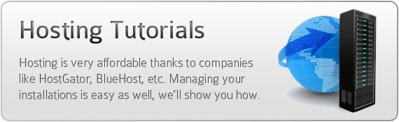 Hosting Tutorials - Hosting is very affordable thanks to companies like HostGator, BlueHost, etc. Managing your installations is easy as well, we'll show you how.